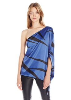 Halston Heritage Women's One Sleeve Flowy Asymmetrical Printed Top Ultramarine Abstract Fan