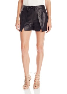 HALSTON HERITAGE Women's Overlay Leather Shorts