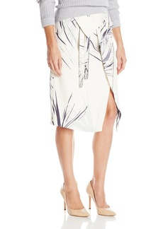 Halston Heritage Women's Printed Wrap Midi Skirt with Waist Drape Chalk Graphic Burst