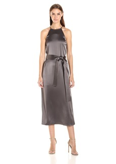 Halston Heritage Women's Racer Back Satin Slip Dress Sash  M