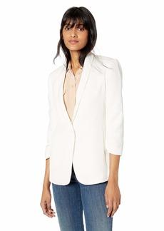 Halston Heritage Women's Ruched 3/4 Sleeve Crinkle-Crepe Blazer  S