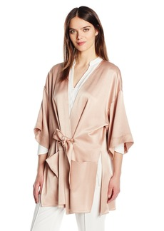 Halston Heritage Women's Satin Kimono Wrap Jacket with Multi Needle Sash  L
