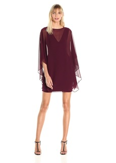 Halston Heritage Women's Shift Cocktail Dress with Flowy Sleeves BlackBerry