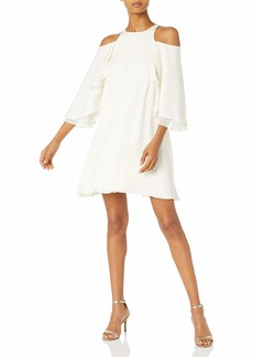 Halston Heritage Women's Short Sleeve Cold Shoulder Round Neck Flowy Dress