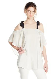 Halston Heritage Women's Short Sleeve Cold Shoulder Top with Ties  XL