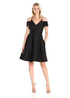 HALSTON HERITAGE Women's Short Sleeve Cold Shoulder V Neck Silk Faille Dress
