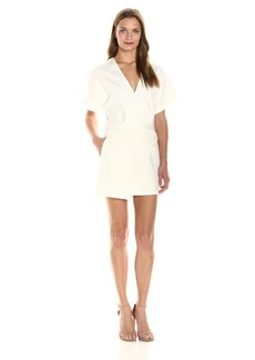 Halston Heritage Women's Short Sleeve Deep V Wrap Dress