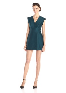 HALSTON HERITAGE Women's Short Sleeve Faux Wrap Structured Dress