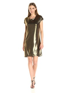 HALSTON HERITAGE Women's Short Sleeve Foil Jersey Dress with Drape Back