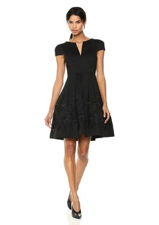 Halston Heritage Women's Short Sleeve Notch Neck Dress with Embellished Skirt