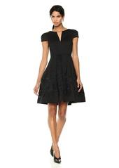 HALSTON HERITAGE Women's Short Sleeve Notch Neck Dress with Embellished Skirt