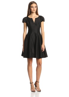 Halston Heritage Women's Short Sleeve Notch Neck Dress with Tulip Skirt