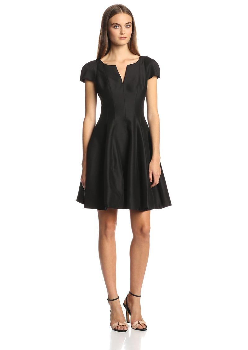 Halston Heritage Women's Short Sleeve Notch Neck Dress with Tulip Skirt