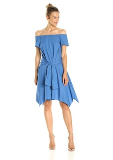 Halston Heritage Women's Short Sleeve Off Shoulder Dress with Tie Detail