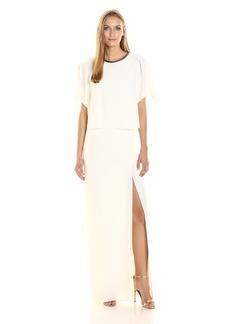 Halston Heritage Women's Short Sleeve Round Metallic Leather Neck Gown