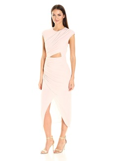Halston Heritage Women's Short Sleeve Round Neck Draped Jersey Dress with Cut Out