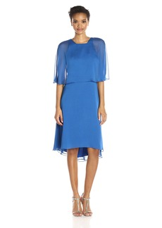 HALSTON HERITAGE Women's Short Sleeve Round Neck Dress With Back Cut Out and Sash