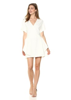 Halston Heritage Women's Short Sleeve V Neck Ponte Dress with Flounce Skirt