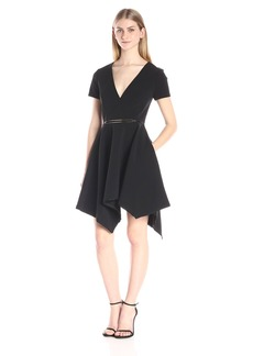 HALSTON HERITAGE Women's Short Sleeve V Neck Structure Dress with Asymmetric Skirt and Oval Ring
