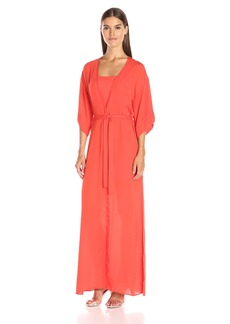 Halston Heritage Women's Short Sleeve V Neck Wrap Kimono Gown