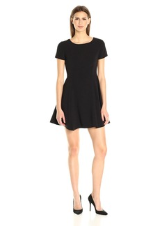 Halston Heritage Women's Short Sleeve Wide Crew Fit and Flare Silhouette Dress