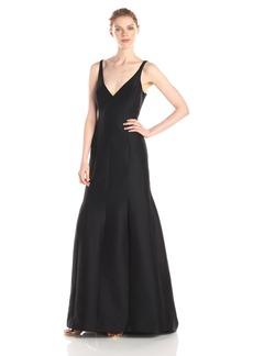 HALSTON HERITAGE Women's Silk Cotton Faille Sleeveless V Neck Evening Dress