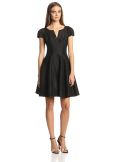HALSTON HERITAGE Women's Short Sleeve Notch Neck Dress with Skirt