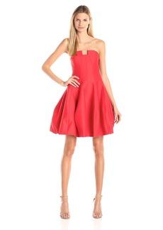 HALSTON HERITAGE Women's Silk Faille Strapless Structured Dress with Notch Neck