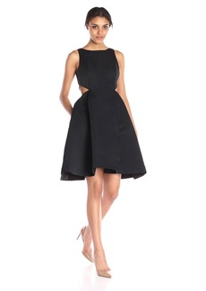 HALSTON HERITAGE Women's Sl Boatneck Strctured Satin Faille Dress W Cut Out