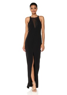 Halston Heritage Women's Sl Crepe Gown W FRNT Embroidery Detail