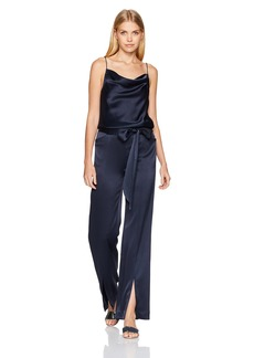 Halston Heritage Women's Sl Draped Neck Satin Jumpsuit W Sash
