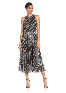 HALSTON HERITAGE Women's Sl Dress W Flounce and Curved Circle H.W Bel