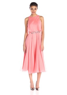 HALSTON HERITAGE Women's Sl Dress with Flounce and Curved Ring Belt