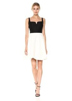 HALSTON HERITAGE Women's Sl Geo Neck Color Blckd Silk Faille Dress