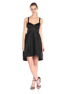 Halston Heritage Women's Sl Halter Neck Structured Fabric Combo Dress