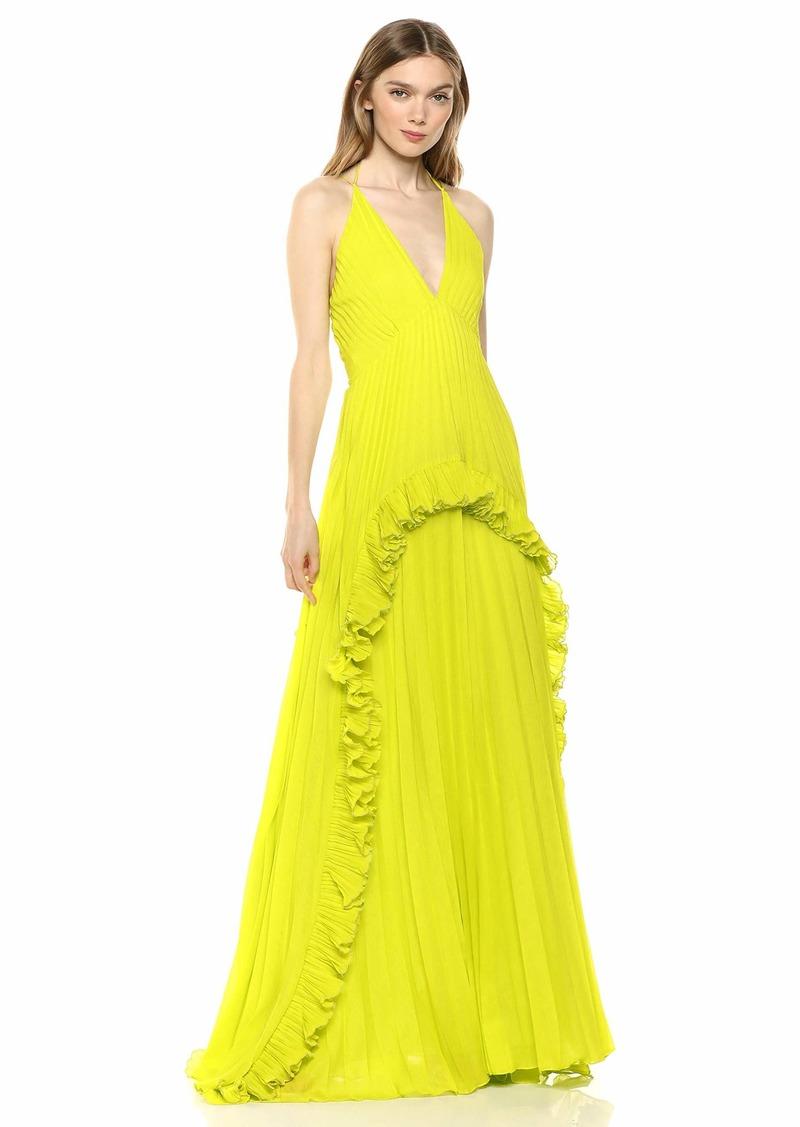 Halston Heritage Women's SL Halter V-Neck Pleated Gown