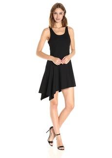 Halston Heritage Women's Sl RND Neck Ribbed Jerseydress W Flnce Skirt  M