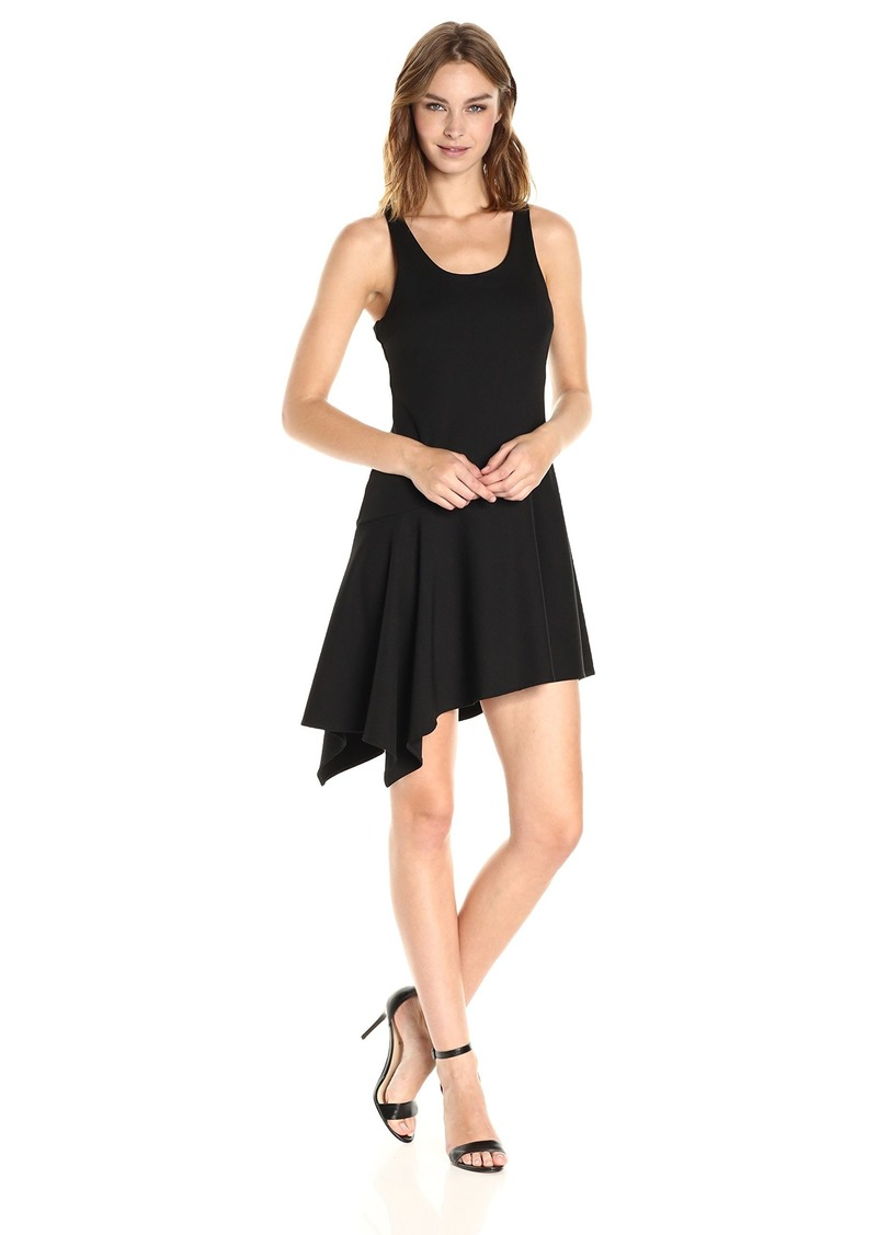 Halston Heritage Women's Sl Rnd Neck Ribbed Jerseydress W Flnce Skirt  XS