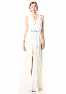 Halston Heritage Women's Sl V Neck Gown W Pleated Skirt and Hw Detail