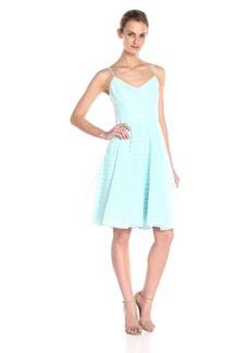HALSTON HERITAGE Women's Sl V Neck Textured Stripe Organza Dress