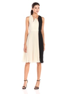 HALSTON HERITAGE Women's Sleeveless Arch Ring Neck Colorblock Dress with Pleated Skirt