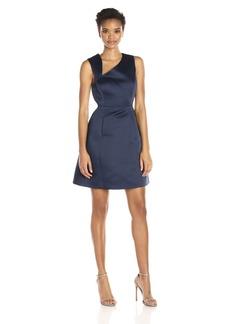 Halston Heritage Women's Sleeveless Asymmetrical Neck Satin Faille Dress