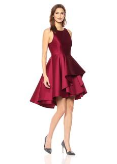 HALSTON HERITAGE Women's Sleeveless Boatneck Dress with Dramatic Skirt