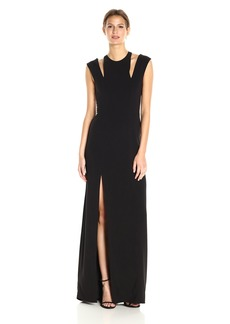 Halston Heritage Women's Sleeveless Cold Shoulder Round Neck Crepe Gown