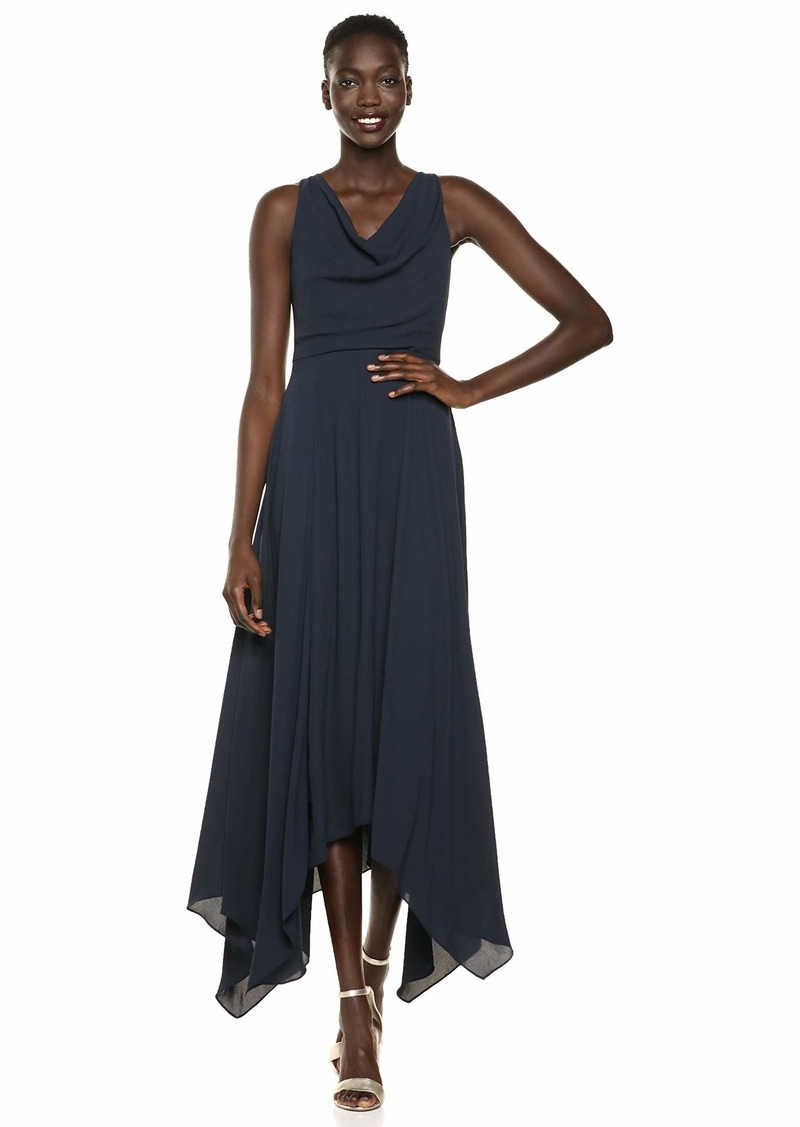 Halston Heritage Women's Sleeveless Cowl Neck Flowy Back Knot Gown