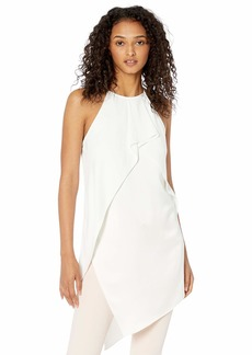 Halston Heritage Women's Sleeveless Crepe Tunic with Satin-Flouce Overlay  S