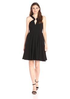 HALSTON HERITAGE Women's Sleeveless Cross Neck Flowy Dress