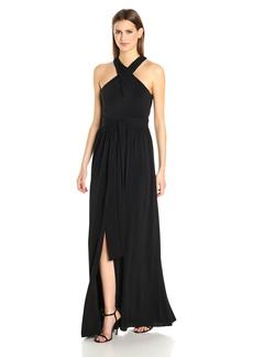Halston Heritage Women's Sleeveless Cross Neck Jersey Gown With Back Knot Detail  XS