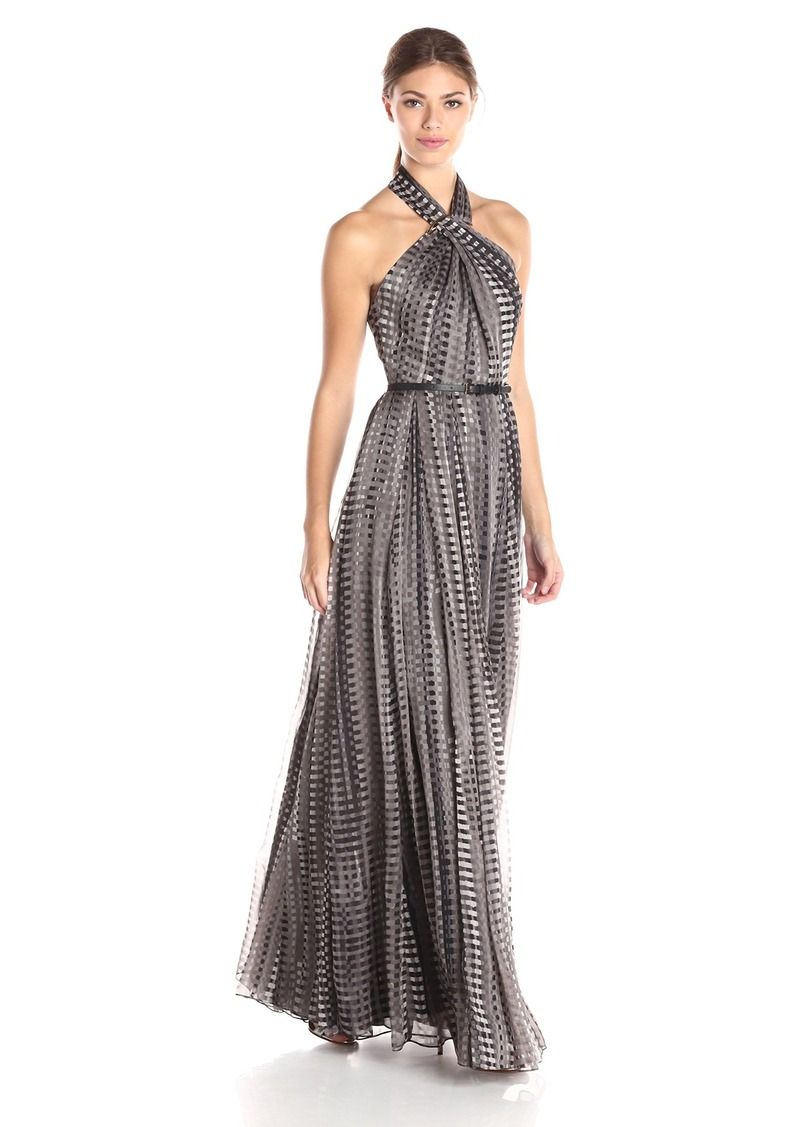 HALSTON HERITAGE Women's Sleeveless Cross Neck Printed Gown with Hardware At Neck