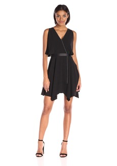 HALSTON HERITAGE Women's Sleeveless Deep V Faux Wrap Dress with Chain Piping